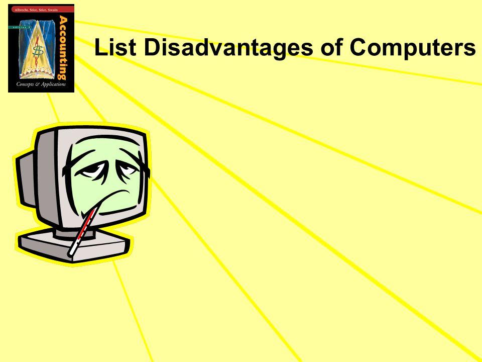 List Disadvantages of Computers