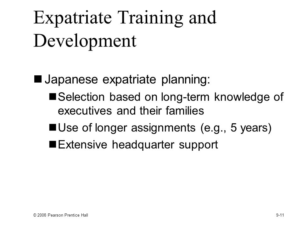 Expatriate Training and Development