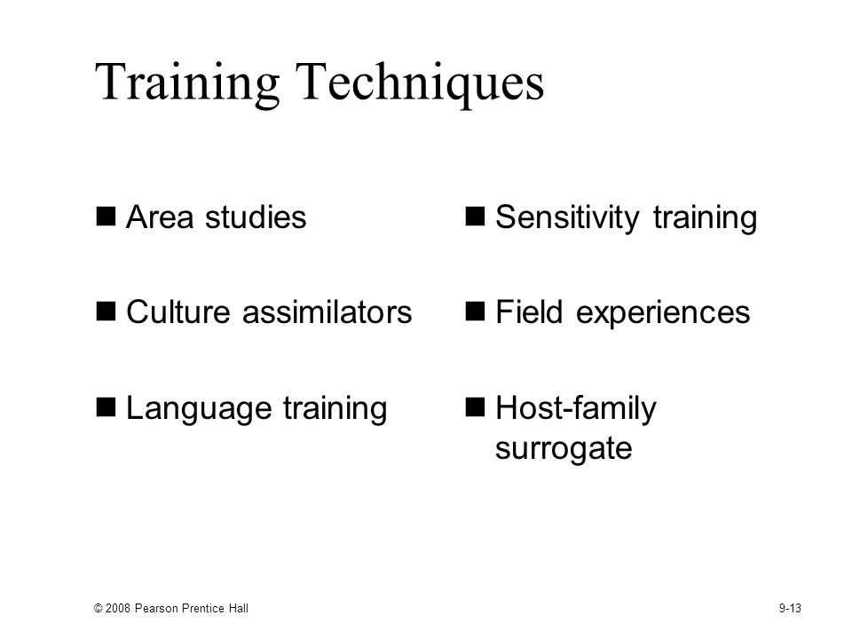 Training Techniques Area studies Culture assimilators