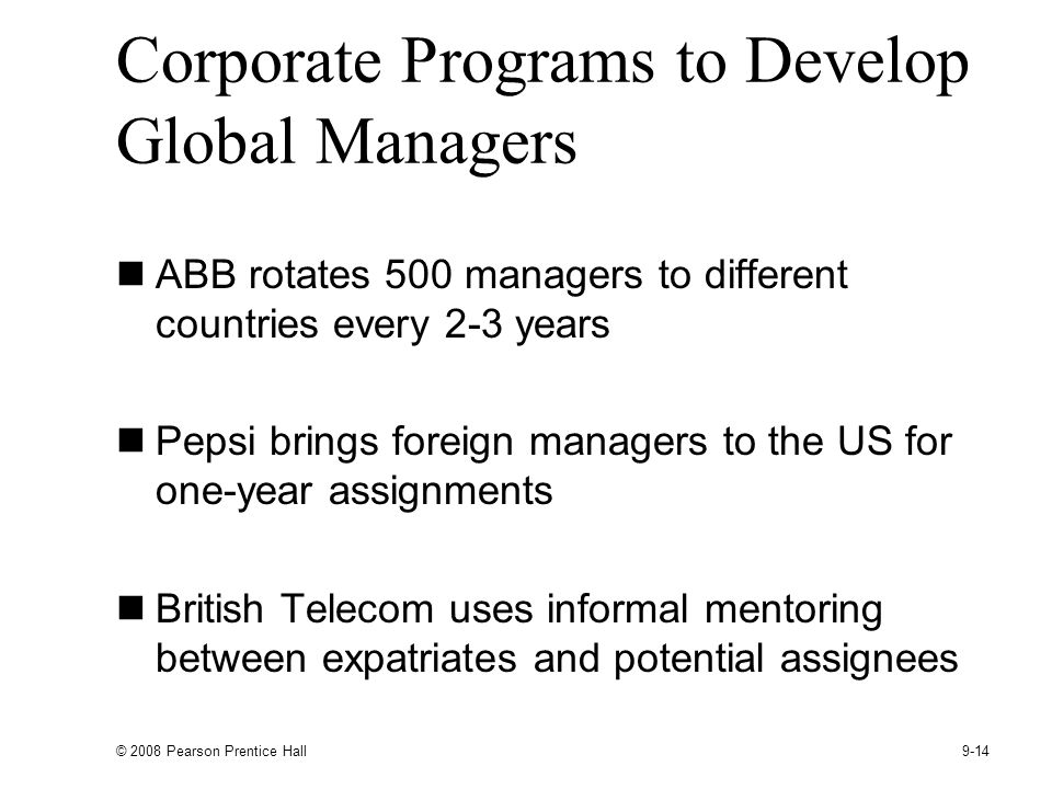 Corporate Programs to Develop Global Managers