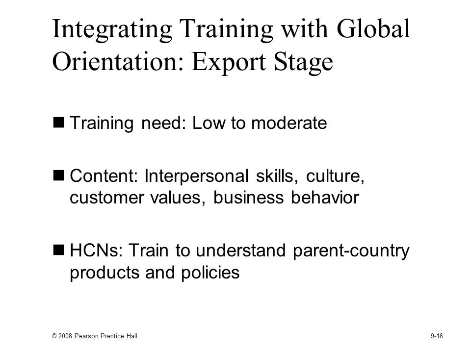 Integrating Training with Global Orientation: Export Stage