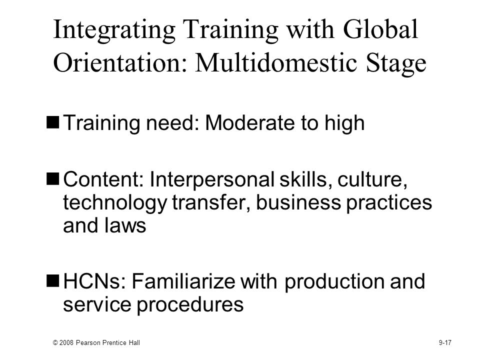Integrating Training with Global Orientation: Multidomestic Stage