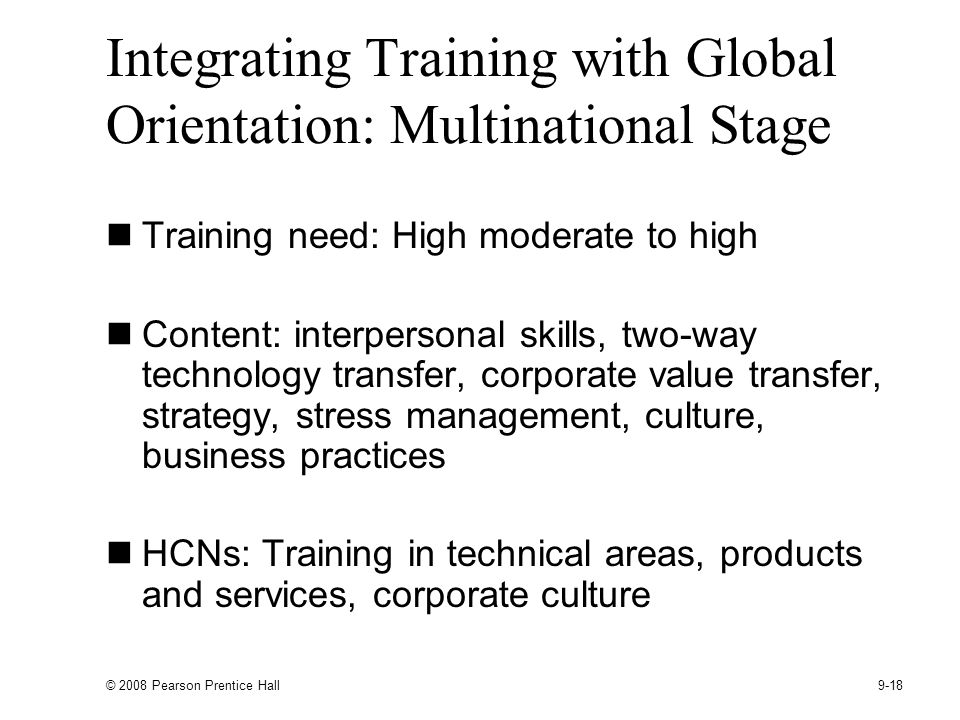 Integrating Training with Global Orientation: Multinational Stage