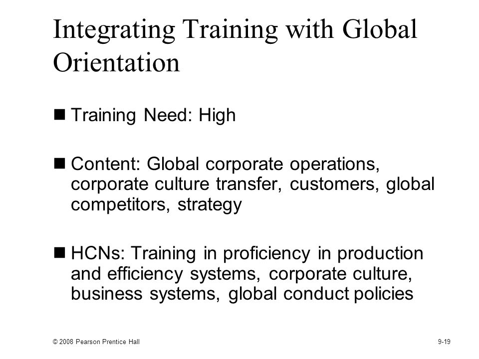 Integrating Training with Global Orientation