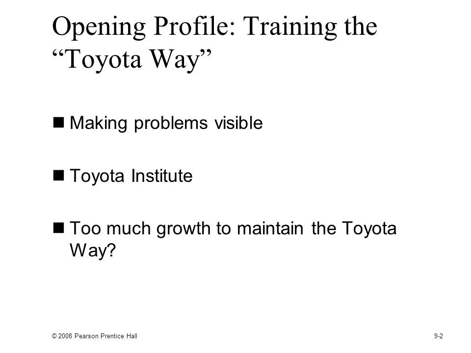 Opening Profile: Training the Toyota Way