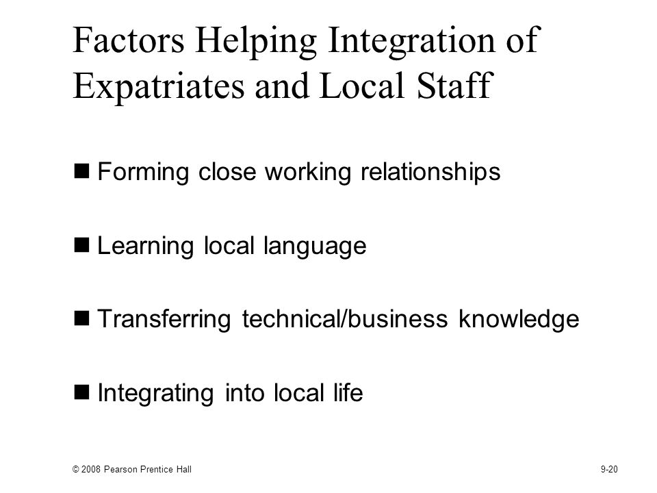 Factors Helping Integration of Expatriates and Local Staff