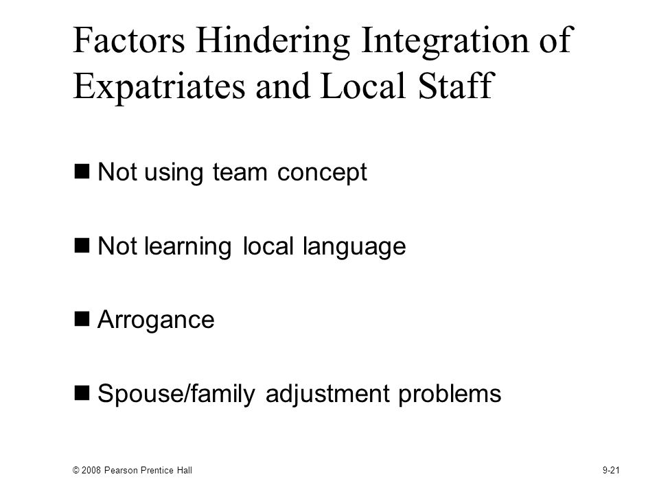Factors Hindering Integration of Expatriates and Local Staff