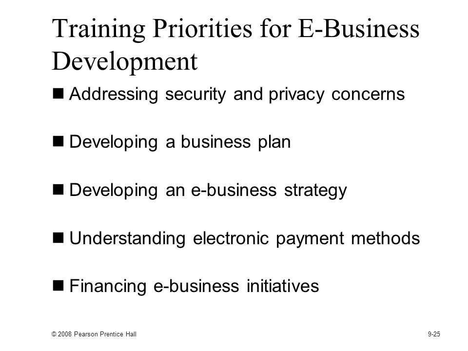 Training Priorities for E-Business Development