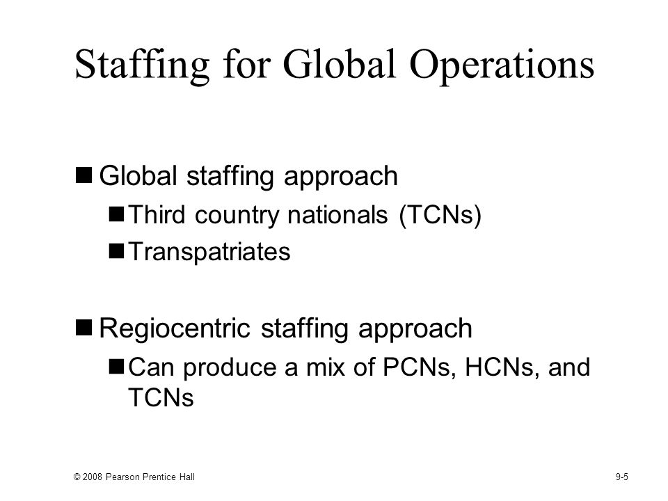 Staffing for Global Operations