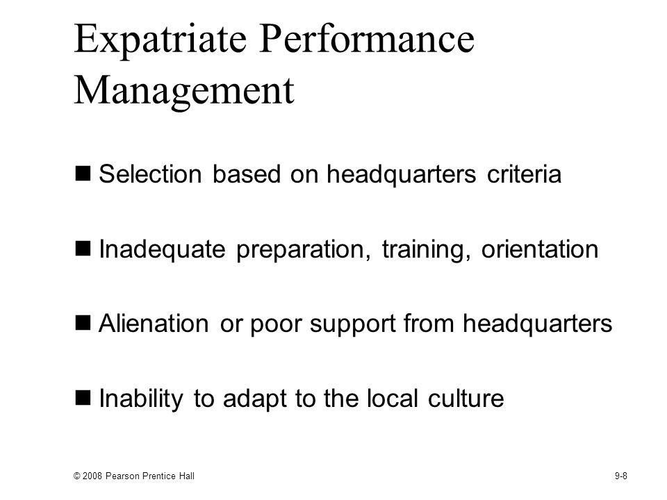 Expatriate Performance Management