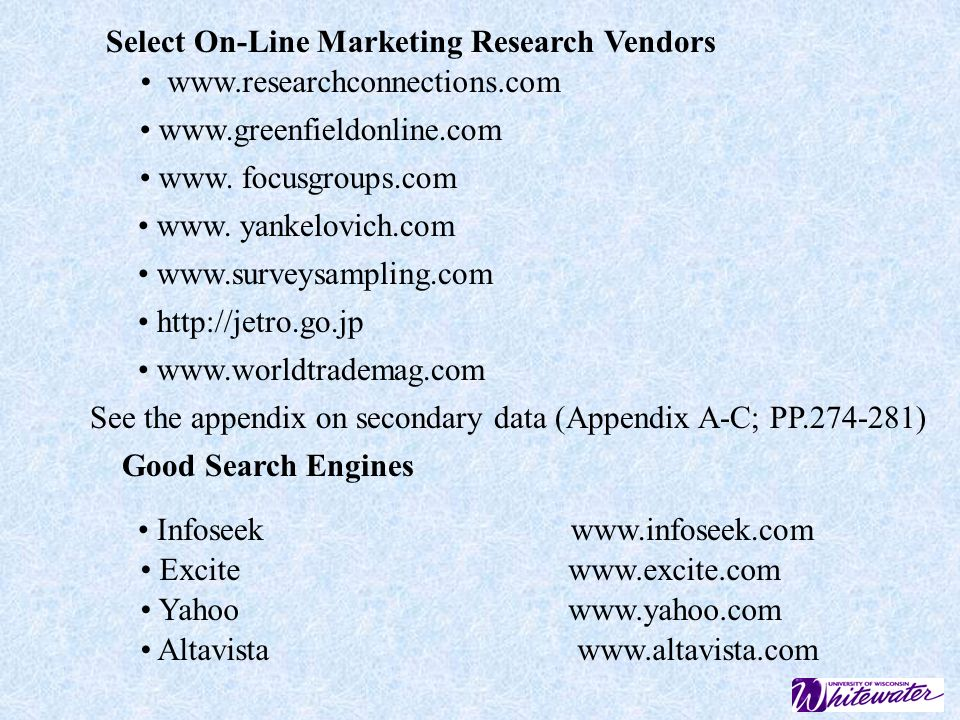 Select On-Line Marketing Research Vendors
