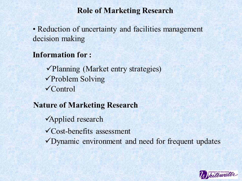 role of marketing research in marketing The world of marketing research is changing as researchers, we need to change or risk becoming irrelevant.