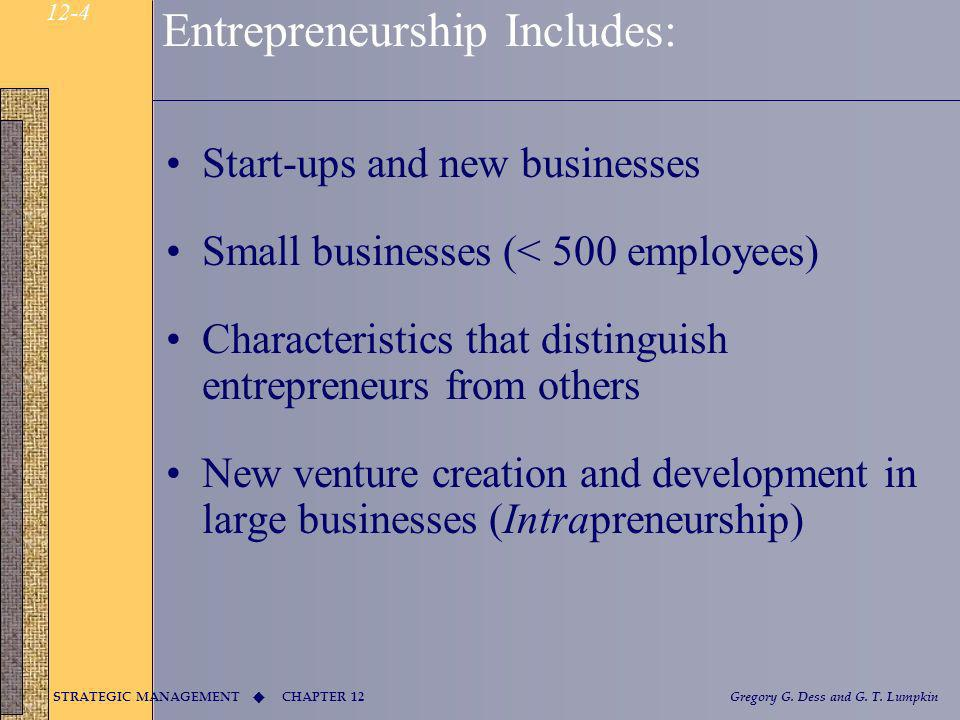 Entrepreneurship Includes: