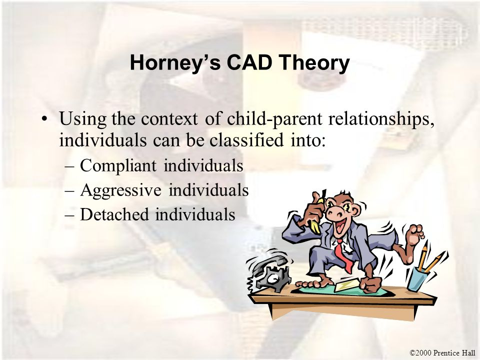 Horney's CAD Theory Using the context of child-parent relationships, individuals can be classified into: