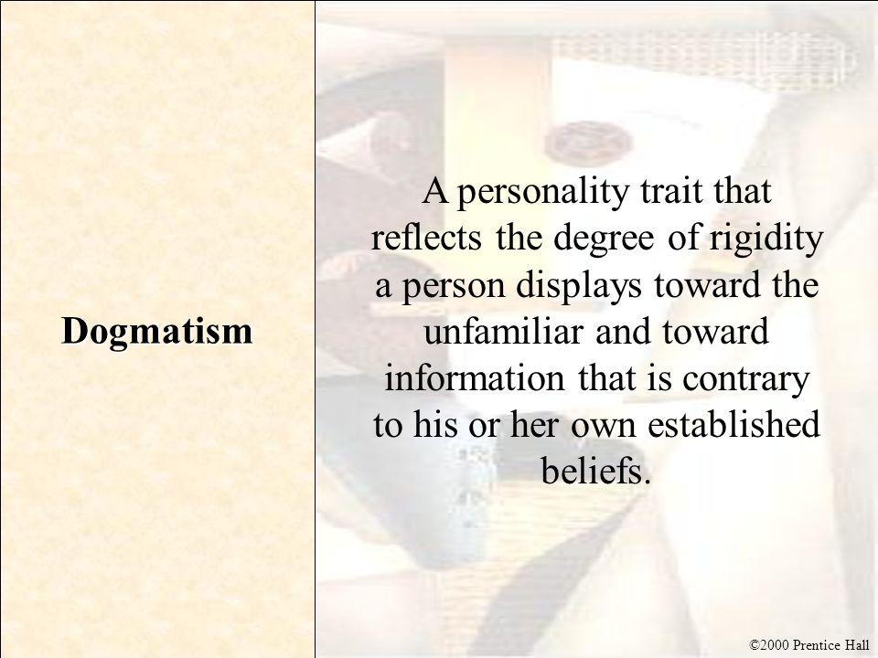 highly dogmatic consumers Highly dogmatic consumer approaches the unfamiliar defensively the dogmatic personality trait measures the degree of rigidity that consumers display towards the unfamiliar and towards information that is contrary to their beliefs.