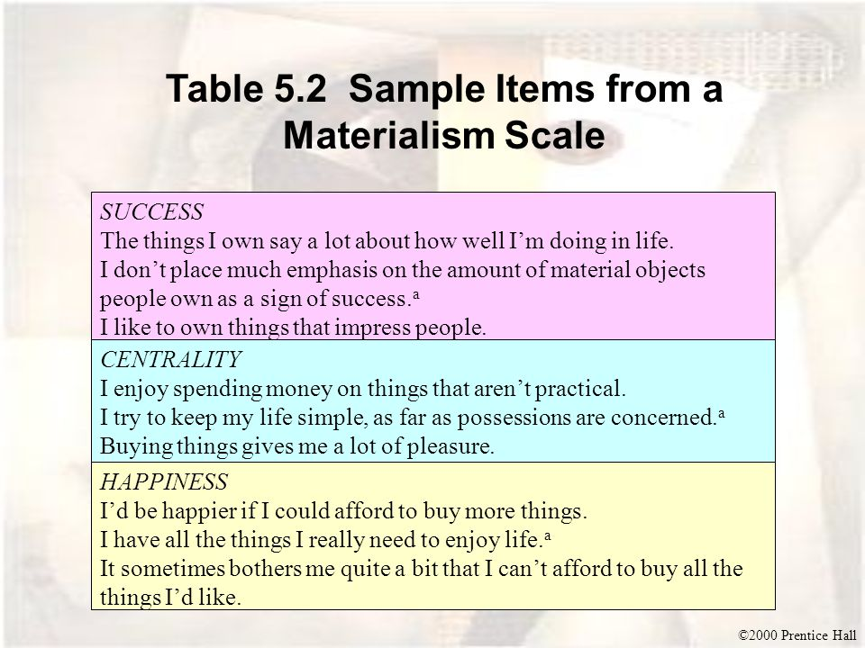 Table 5.2 Sample Items from a Materialism Scale