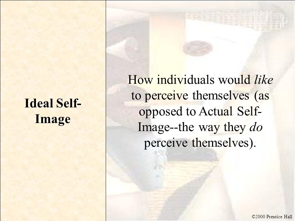 Ideal Self-Image How individuals would like to perceive themselves (as opposed to Actual Self-Image--the way they do perceive themselves).