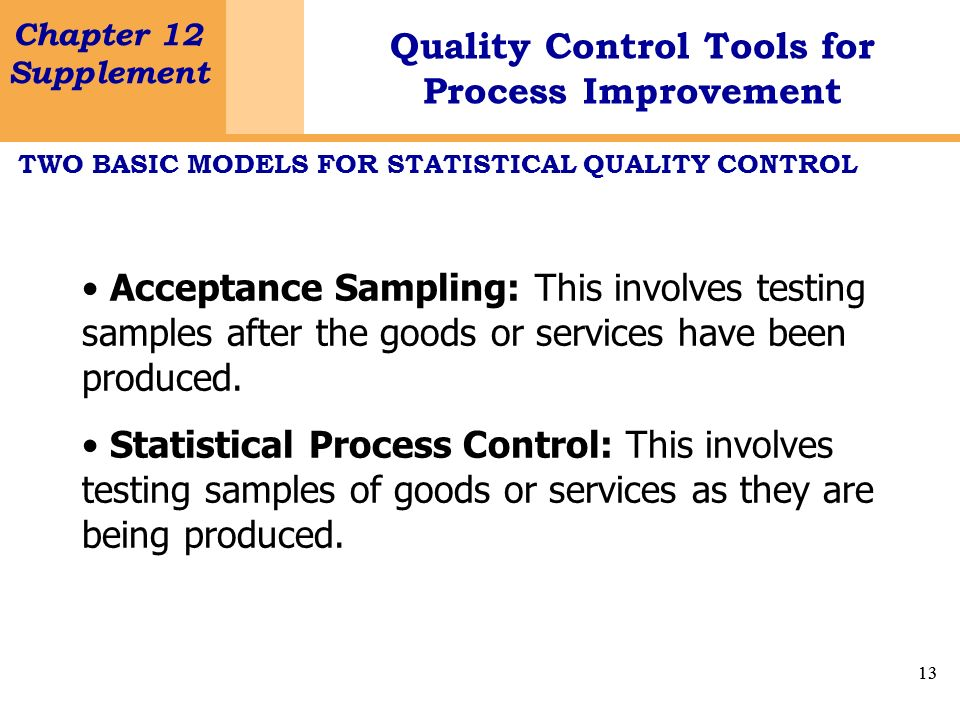 TWO BASIC MODELS FOR STATISTICAL QUALITY CONTROL