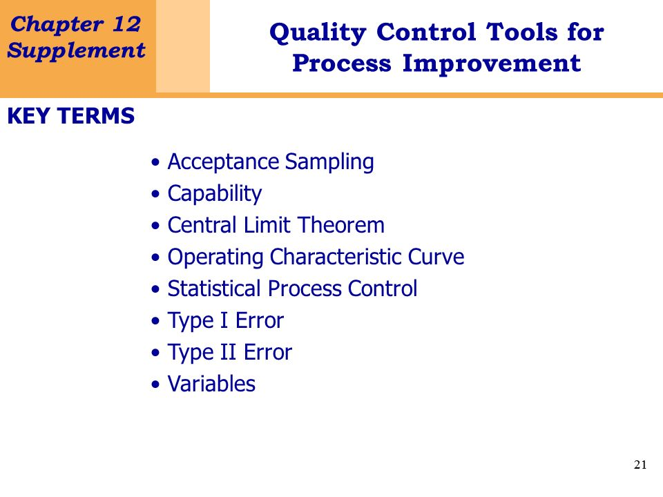 KEY TERMSAcceptance Sampling. Capability. Central Limit Theorem. Operating Characteristic Curve. Statistical Process Control.