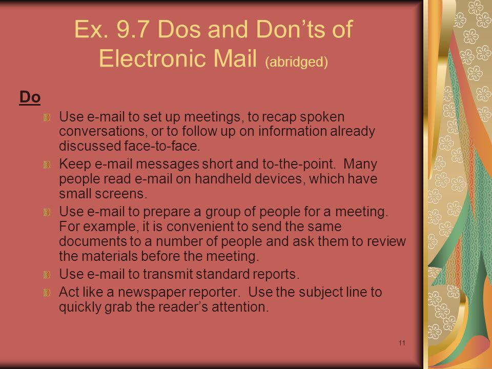 Ex. 9.7 Dos and Don'ts of Electronic Mail (abridged)