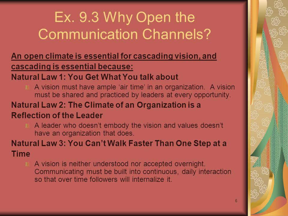 Ex. 9.3 Why Open the Communication Channels