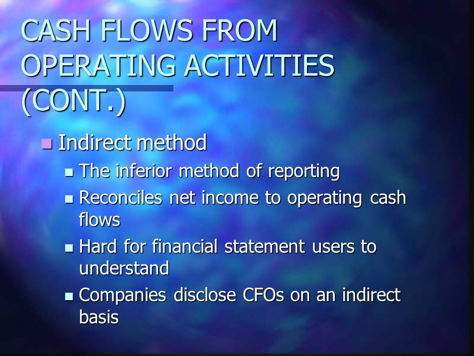 CASH FLOWS FROM OPERATING ACTIVITIES (CONT.)