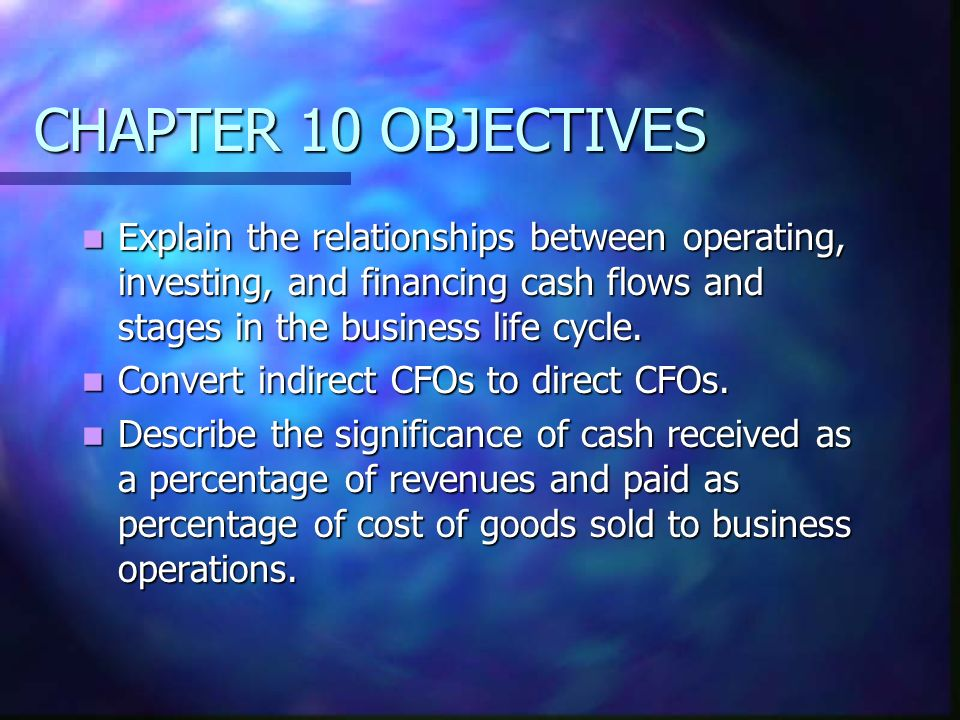 CHAPTER 10 OBJECTIVESExplain the relationships between operating, investing, and financing cash flows and stages in the business life cycle.