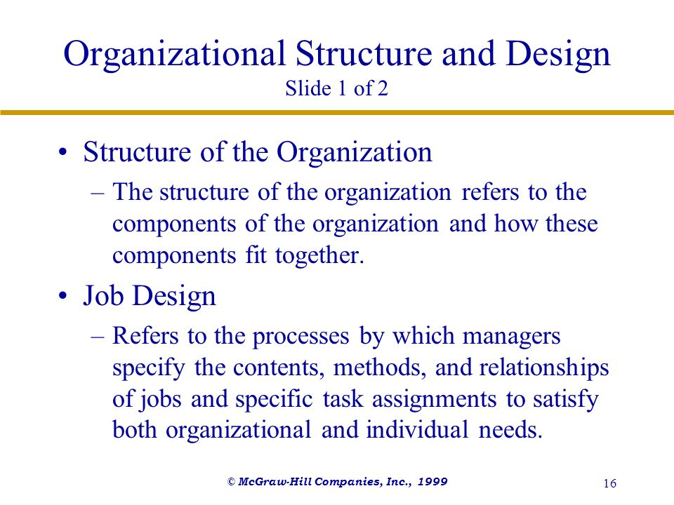 Organizational Structure and Design Slide 1 of 2