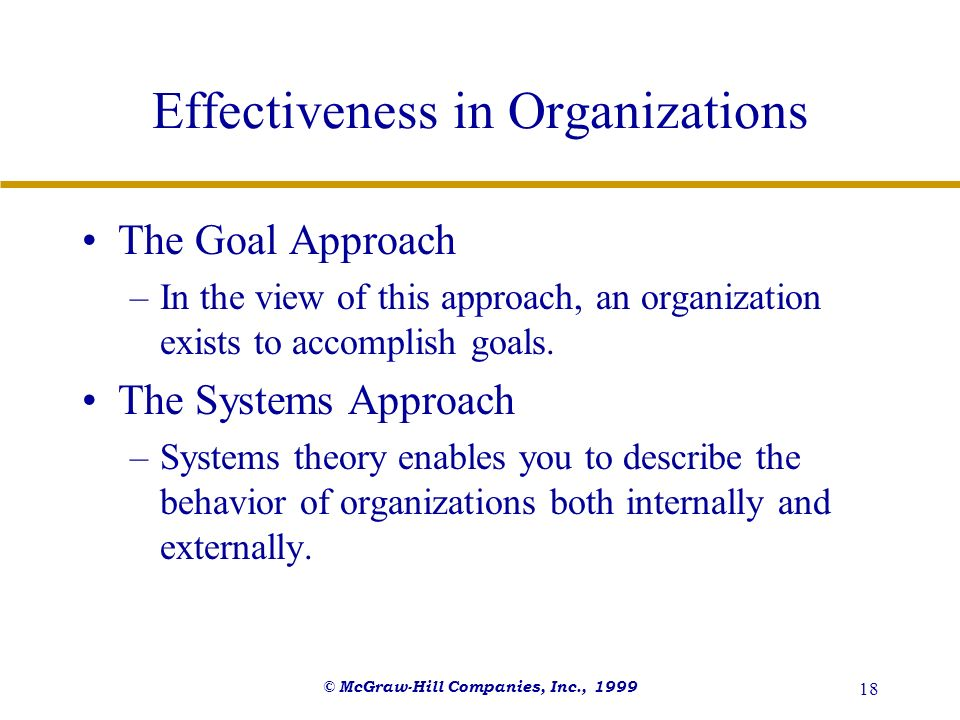 Effectiveness in Organizations