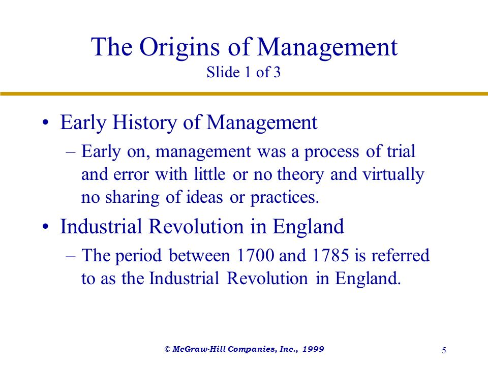 The Origins of Management Slide 1 of 3