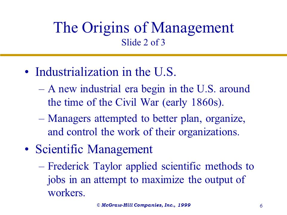 The Origins of Management Slide 2 of 3