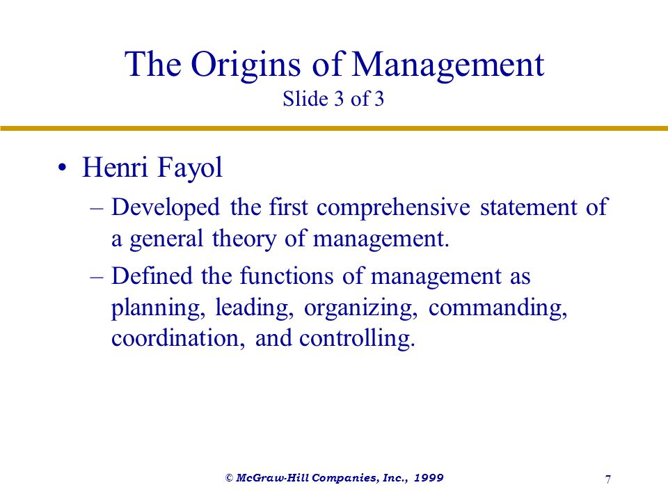 The Origins of Management Slide 3 of 3