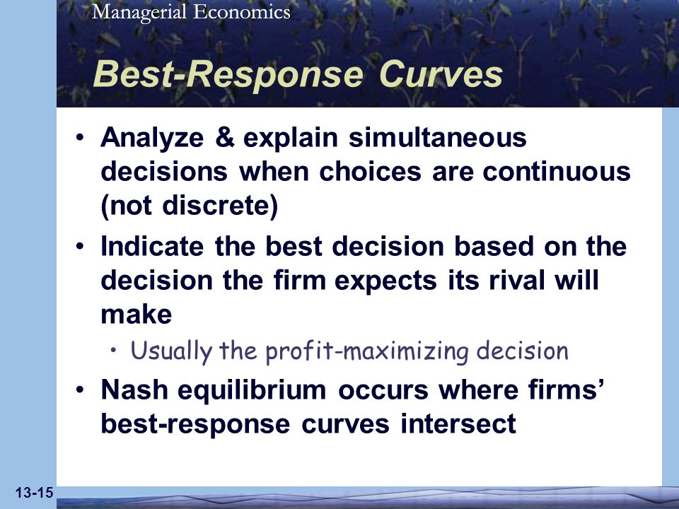 Best-Response Curves Analyze & explain simultaneous decisions when choices are continuous (not discrete)