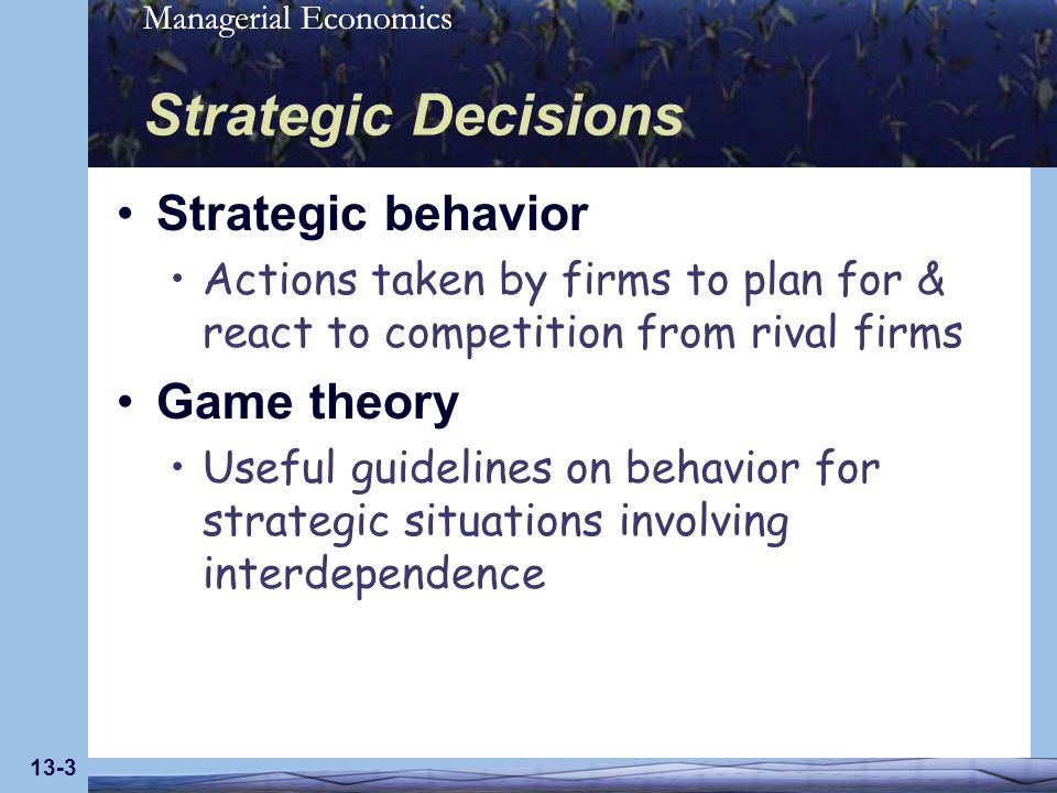 Strategic Decisions Strategic behavior Game theory