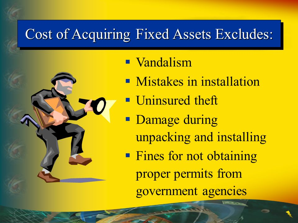 Cost of Acquiring Fixed Assets Excludes: