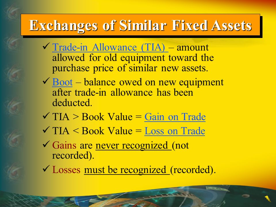 Exchanges of Similar Fixed Assets