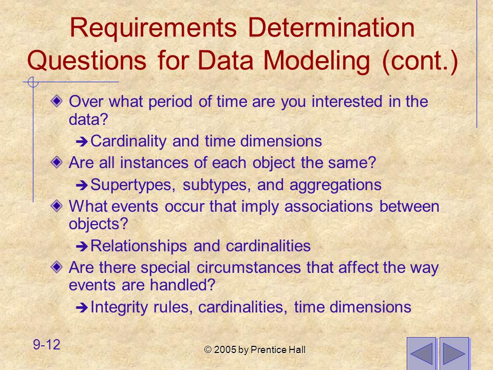 Requirements Determination Questions for Data Modeling (cont.)