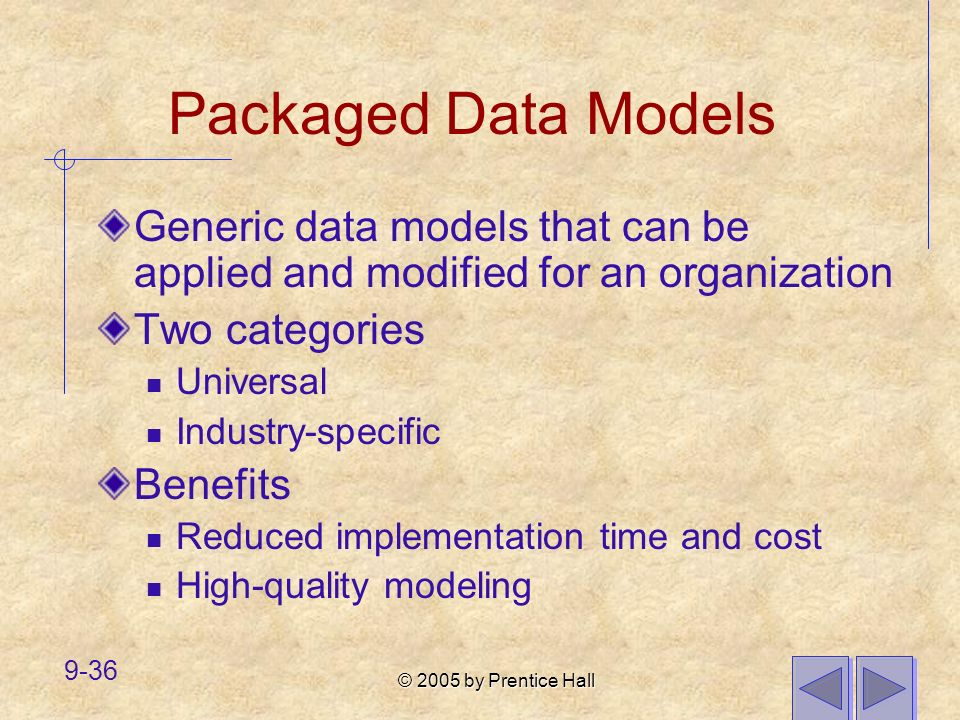 Packaged Data Models Generic data models that can be applied and modified for an organization. Two categories.