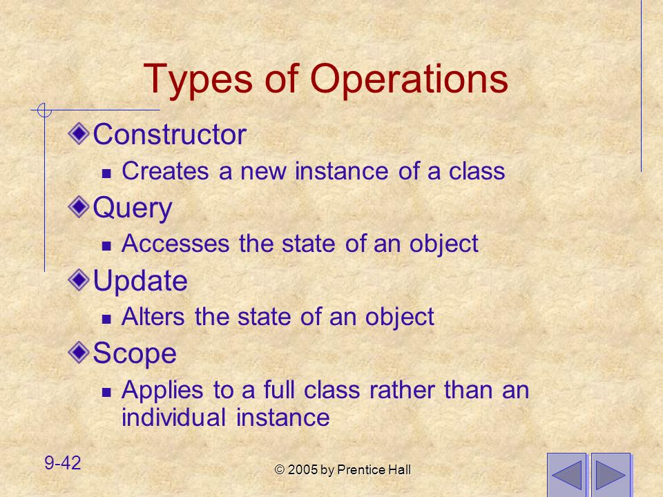 Types of Operations Constructor Query Update Scope