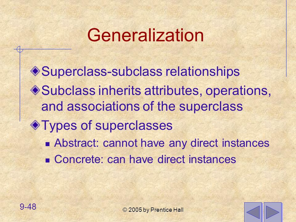 Generalization Superclass-subclass relationships