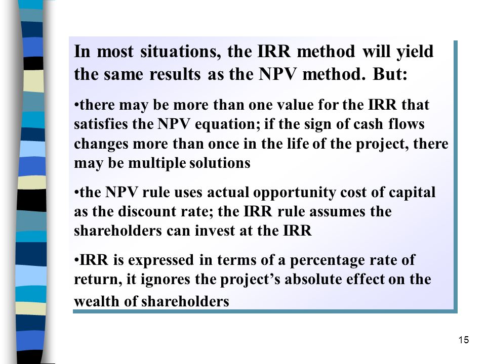 In most situations, the IRR method will yield the same results as the NPV method. But: