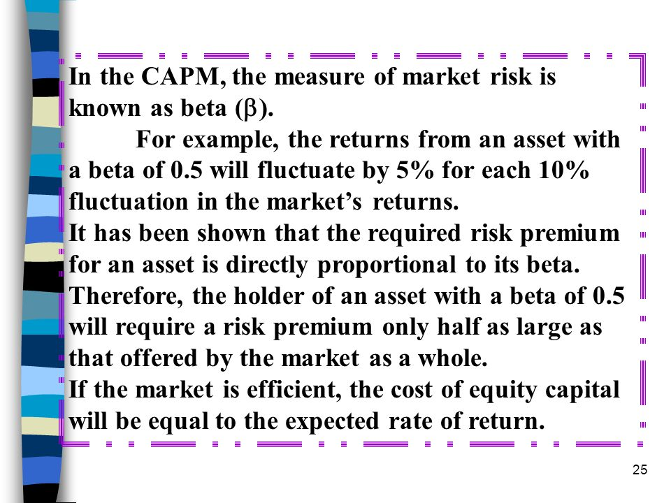 In the CAPM, the measure of market risk is known as beta ()