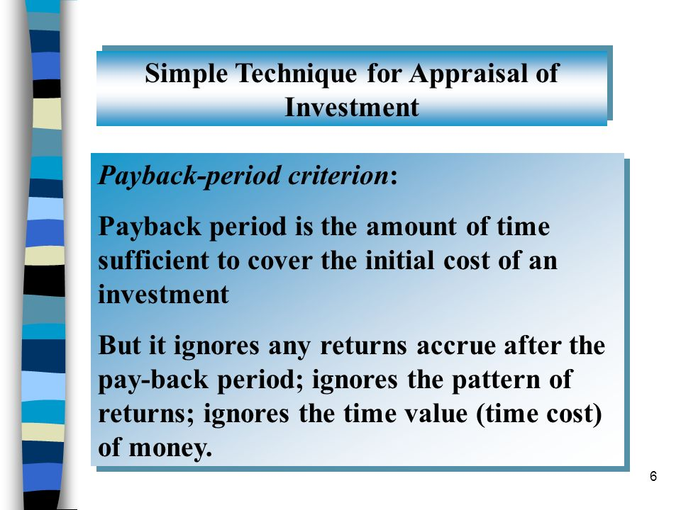 Simple Technique for Appraisal of Investment