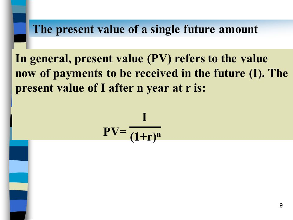 The present value of a single future amount
