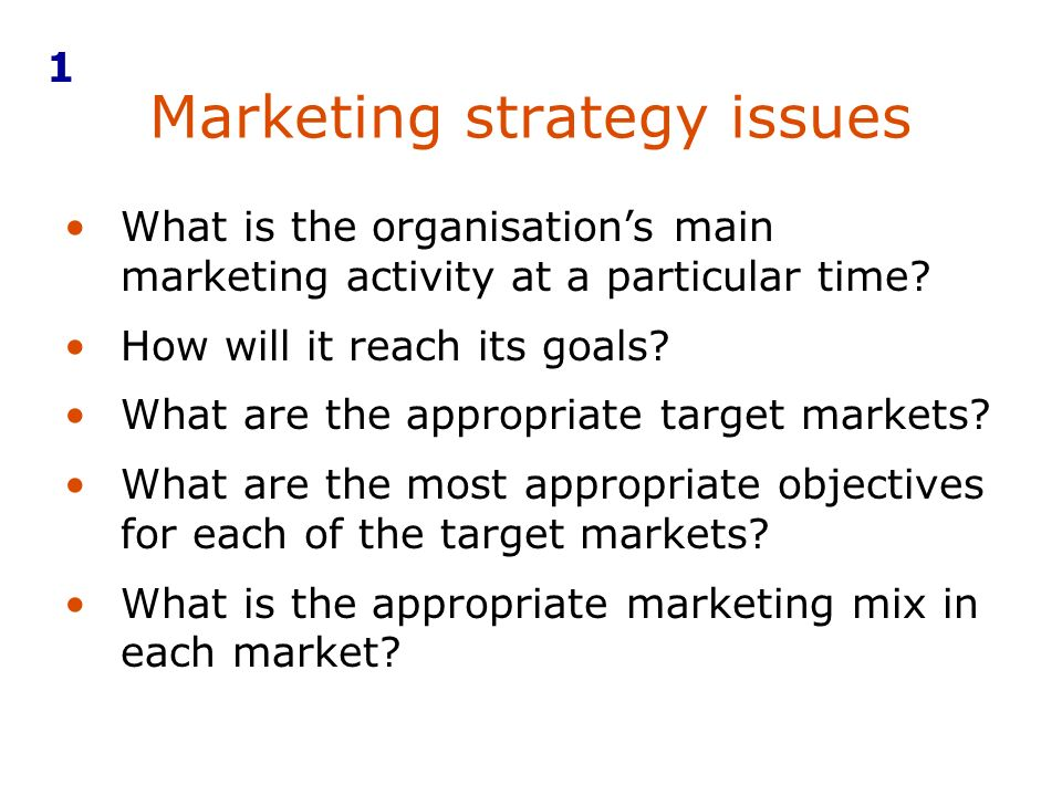 Marketing strategy issues