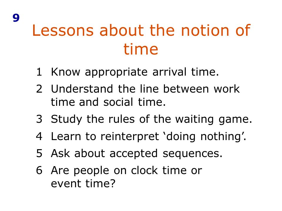Lessons about the notion of time