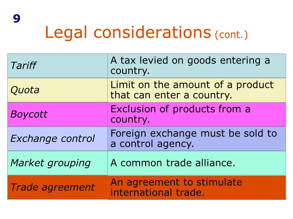Legal considerations (cont.)
