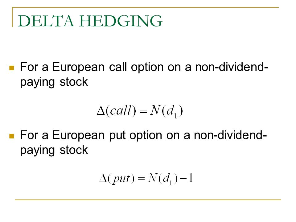 Option trading delta hedging