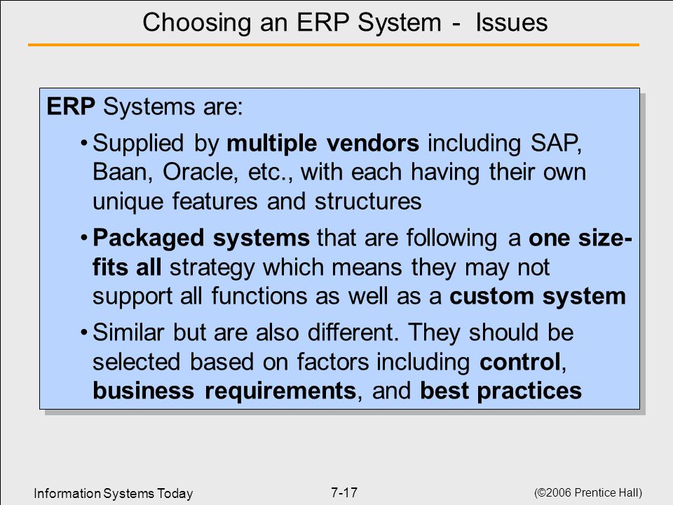 Choosing an ERP System - Issues