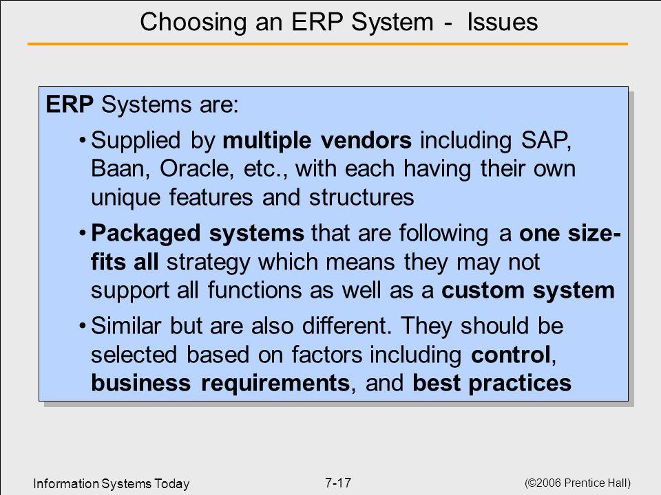 Choosing an ERP System - Issues